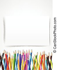Top view of stationary blank paper and color pencil with copy space on white background vector illustration 002