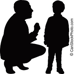 dad talk to his son gently, silhouette