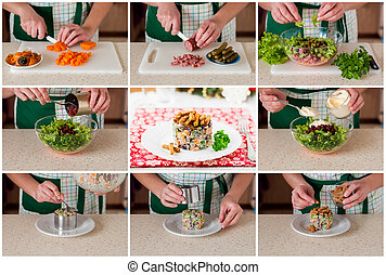 A Step by Step Collage of Making German Christmas Salad with...