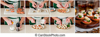 A Step by Step Collage of Making Little Tarts of Salmon - A...