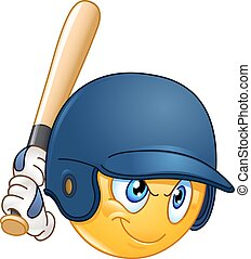 Baseball batter emoticon - Baseball batter or hitter player...