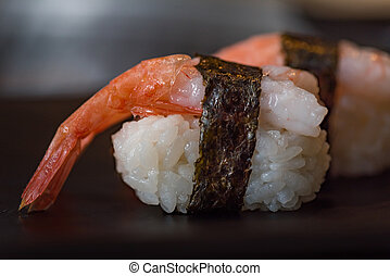 Japan shrimp sushi - Close up of delicious japanese food...
