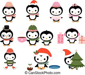 Cute Christmas penguin characters with winter hats, scarves...