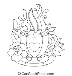 Vector coffee or tea cup. Coloring pages. Stylized...