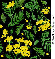 Pattern with yellow watercolor tansy - Seamless yellow...
