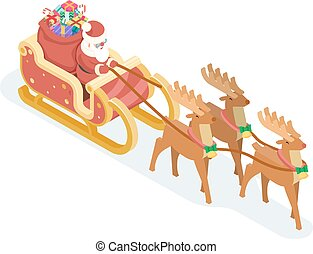 Isometric 3d Santa Claus Grandfather Frost Sleigh Reindeer...