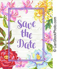 Invitation card with China flowers. Bright buds of magnolia,...