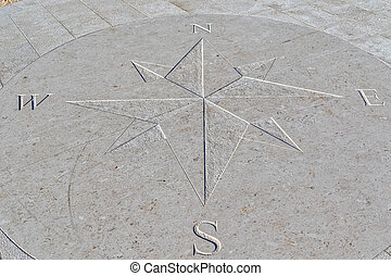 Compass by the sea - Compass engraved on the stone pier,...