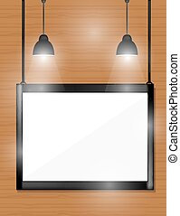 Empty black frames on wooden wall with spotlights.
