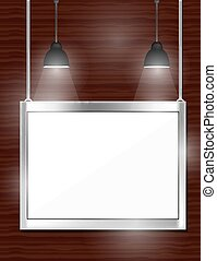 Empty white frames on wooden wall with spotlights