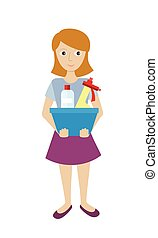 Member of the Cleaning Service with Glass Cleaner - Cleaning...
