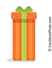 Christmas Orange Gift Box with Green Bow - Christmas orange...
