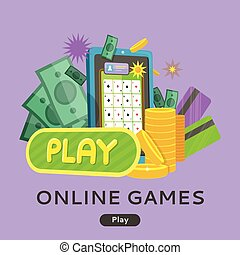 Online Games Web Banner Isolated with Play Button. - Online...
