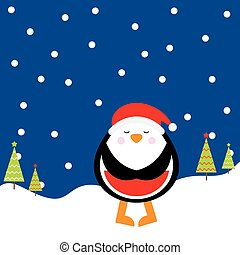 Christmas illustration with cute penguin on night background suitable for children Xmas greeting card, and invitation