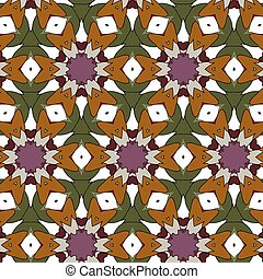 Village floral folk pattern of interwoven flowers and...