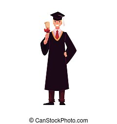 Student wearing traditional graduation gown and cap, holding diploma