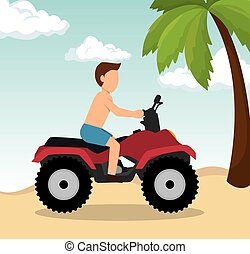 man drive atv on beach vector illustration eps 10