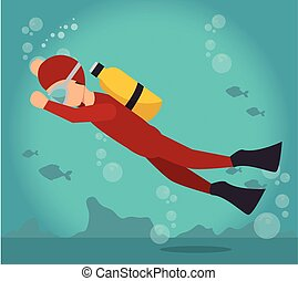 scuba diver water sport extreme activity vector illustration...