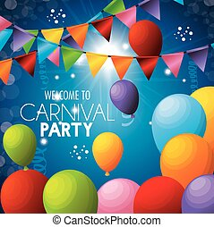welcome carnival party balloons colors garlands vector...