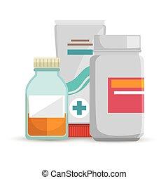 bottle medicine container cream care icons