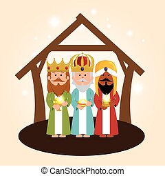 cute three wise kings manger
