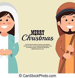 card merry christmas mary joseph cartoon