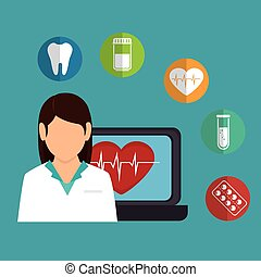 cartoon doctor female laptop heart health icons