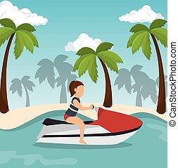 jet ski girl riding beach vector illustration eps 10