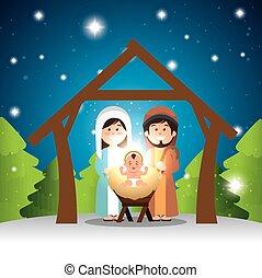 characters manger merry christmas design vector illustration...