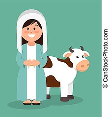 cute virgin mary and cow vector illustration eps 10