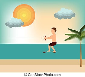 wakeboarding man extreme sport beach vector illustration eps...