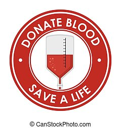 donate blood save a ilfe badge vector illustration eps 10