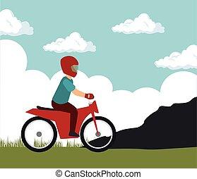 motorcylcist extreme sport on mountain