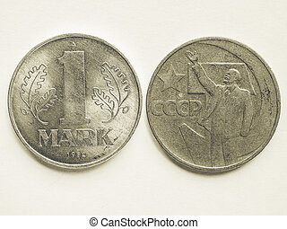 Vintage Vintage Russian ruble coin and German mark coin -...