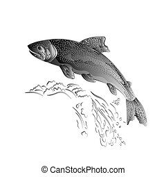 Trout jumps  in stream as wrought metal vintage vector.eps