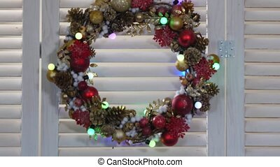 Christmas wreath on a wood background