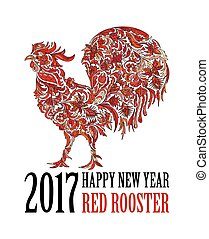 Red rooster, symbol of 2017 on the Chinese calendar. Happy new year 2017 card for your flyers and greetings card. Vector illustration