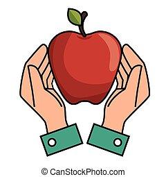 hands holds apple nutrition design