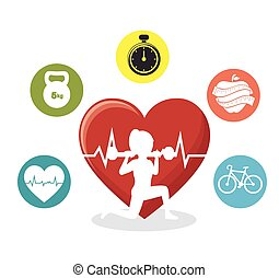 silhouette girl lifting weight heart pulse sport icons