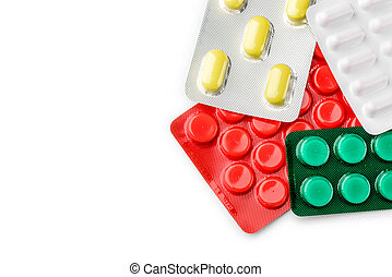 Blister of pharmaceutical pills - Red, yellow, green and...