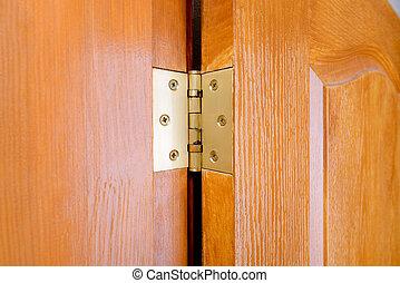 Door Hinge Detail - Detail of a door hinge fixed on a wooden...