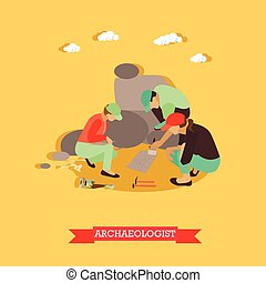 Vector illustration of archaeologists in Egypt in flat style...