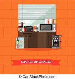 Vector illustration of kitchen interior with cooking appliances, flat style