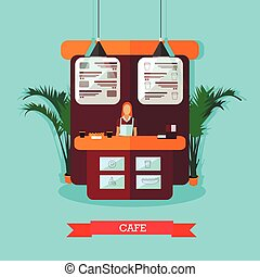 Vector illustration, woman standing behind of bar counter, cafe interior