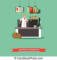 Vector illustration of artifacts research in laboratory with special equipment