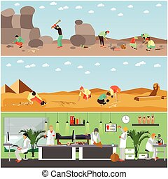 Vector set of banners with archaeological excavation and...