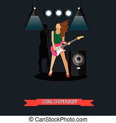 Girl Guitarist playing electric guitar on stage, vector illustration.