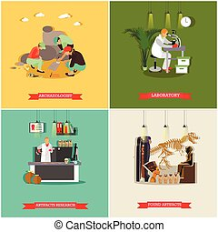 Vector set of posters, banners with archaeologists,...
