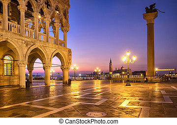 Citiyscape view of Piazza San Marco square at sunrise