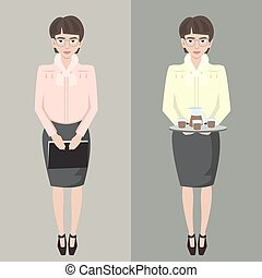 young shy secretary girl with file and coffee tray vector...
